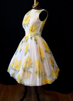 1950's sheer silk chiffon new look party dress with yellow floral print.