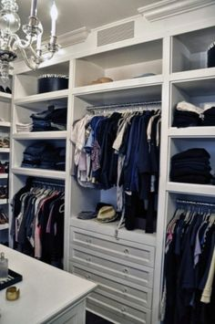 A walk in closet can never have too many shelves or storage cubbies!