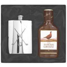 Engraved Golf Clubs Pewter Hipflask and Whisky Gift Set