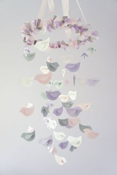 Nursery Decor Mobile- Lavender, Baby Pink, Gray, & White Birds.