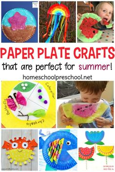 You won't believe all the summer paper plate crafts I've discovered! From mermaids and pirates to flowers and summer fruit, there are so many crafts to choose from you won't know where to start! Summer Crafts For Toddlers, Summer Activities For Kids, Easy Crafts For Kids, Toddler Crafts, Art Activities, Sand Crafts, Beach Crafts, Paper Plate Crafts For Kids, Paper Crafts