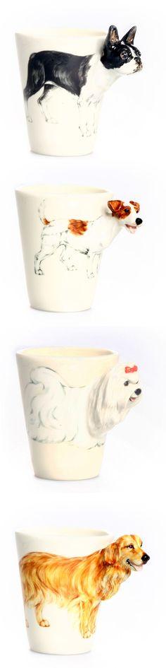 3-D Doggie Mugs.. Dog lovers spl
