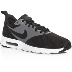 Nike Men's Air Max Tavas Special Edition Lace Up Sneakers ($95) ❤ liked on Polyvore featuring men's fashion, men's shoes, men's sneakers, black, mens black shoes, mens black sneakers, nike mens sneakers, mens lace up shoes and mens sneakers