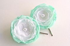 Flower Bobby Pins 2 pcs Apple Green White Hair by BelleBlooms