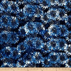 Island Batik Sunflower Light Blue/Dark Blue from @fabricdotcom  Designed by Island Batik, this Indonesian batik is perfect for quilting, apparel, and home décor accents. Colors include shades of blue and white.