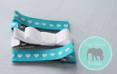 Tiny Hearts Hair Clip Trio in Blue/ by GrayElephantBoutique