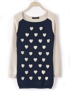 Navy Contrast Apricot Long Sleeve Hearts Pattern Sweater - Sheinside.com