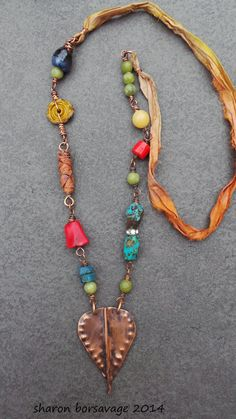 Sharon Borsavage - BEAUTIFUL JOURNEY necklace, copper leaf turquoise sari by livewirejewelrysb