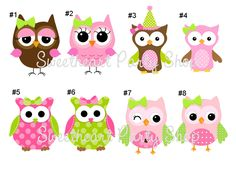 12 Owl Birthday Party Favor Tags in Pink and Green