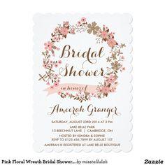 Pink Floral Wreath Bridal Shower Invitation