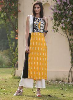 Buy W For Woman Multicolored Georgette Printed Straight Kurti online Salwar Pattern, Kurti Patterns, Kurta Designs, Blouse Designs, Indian Dresses, Indian Outfits, Kurta Style, Indian Fashion, Womens Fashion