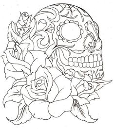 Flower Sugar Skull Coloring Pages | Printable Coloring Pages