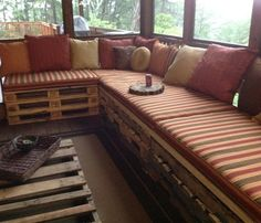 My sister's so clever! :) DIY outdoor sectional and coaster.