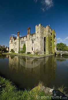 Tudor Hever Castle, Kent, England, Anne Boleyn's childhood home.    Hever Castle is located in the village of Hever, Kent near Edenbridge, 30 miles south-east of London, England. It began as a country house, built in the 13th century. From 1462 to 1539 it was the seat of the Boleyn, originally 'Bullen', family.