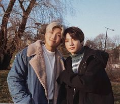 """""""We're getting Namjoon and JungKook together for a unit shoot in the new Winter Package! ❄️ """"My first and last role model"""" RM also picked the photo he took with JungKook (the one) as his favourite photo 🥺💜"""" Bts Jungkook, Taehyung, Bts Lockscreen, Billboard Music Awards, Foto Bts, Namjin, K Pop, Hip Hop, Bts Aesthetic Pictures"""