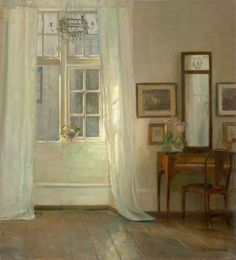 Carl Holsøe (Danish, 1863-1935), Interior. Oil on canvas laid down on masonite, 64 × 58 cm.    via amare-habeo