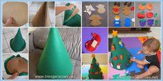 Árvore de Natal em feltro para criança colar enfeites