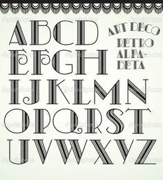 fancy deco Art Deco Typography, Art Deco Font, Art Deco Stil, Hand Lettering Alphabet, Alphabet Stencils, Alphabet Art, Fuente Art Deco, Typographie Fonts, Art Deco Borders