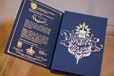 Inside boxed, fairytale book laser cut and gold foiled invitation