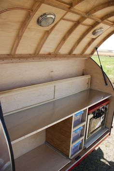 Overland Teardrop Trailer Galley with Stainless Steel Counter-top (optional  Camp Chef Outdoor Camp Oven with Grill shown)