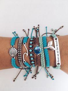 Beachy Bracelets, Diy Bracelets Easy, Pura Vida Bracelets, Summer Bracelets, Bracelet Crafts, Cute Bracelets, Summer Jewelry, Beach Jewelry, Cute Jewelry
