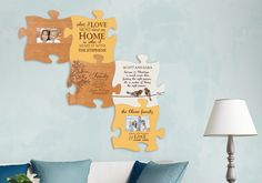 """Puzzle """"piece"""" your family and friends together with this personalized puzzle piece. Each piece interlocks in any direction. Connect two, four, six, eight, ten, twelve or cover an entire wall!"""