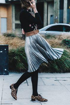 LFW- London Fall 2016 Street style by CollageVintage Metallic skirt II Anya Ziurova