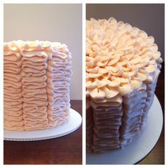 Pink ruffle cake with flower on top!