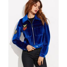 SheIn(sheinside) Blue Zip Up Velvet Jacket With Embroidered Patch ($35) ❤ liked on Polyvore featuring outerwear and jackets