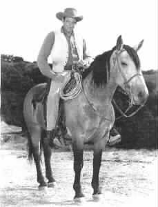 "James Arness as Matt Dillon in Gunsmoke on his horse ""Old Buck"""