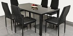 Pearl Furniture DESIGNER STYLE BLACK GLASS DINING TABLE SET WITH 6 FAUX LEATHER CHAIRS No description (Barcode EAN = 7426758825277). http://www.comparestoreprices.co.uk/december-2016-week-1/pearl-furniture-designer-style-black-glass-dining-table-set-with-6-faux-leather-chairs.asp