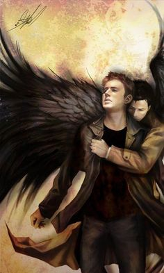 Dean and Castiel the angel comforting his friend...and pulling him out of hell