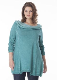 Pullover with large collar
