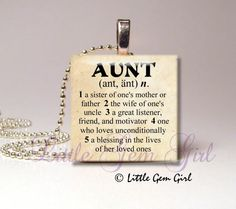 Aunt Necklace Pendant Dictionary Definition Antique Paper or White on Black 1x1  Wood Tile - New Baby (ball chain sold separately)