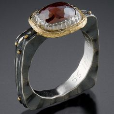 oxidized silver, 18k gold, chocolate diamond ~ Ann Marie Cianciolo