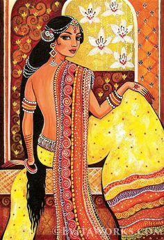 Indian woman painting feminine beauty Goddess art by EvitaWorks Indian Women Painting, Indian Art Paintings, Ancient Indian Paintings, Oil Paintings, Madhubani Art, Madhubani Painting, Tag Art, Female Art, Female Portrait