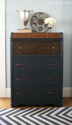 Today I'm sharing another Craigslist freebie I scored a couple of weeks ago.  I saw the ad for this Art Deco style waterfall dresser and it was pretty close to my house, so I decided to check…