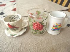 Vintage Set Of 3 Collectable Drinkware Items,1,Ceramic Cup/Sa...