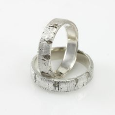 Matching Aspen Tree Bark Wedding Rings in Recycled Silver
