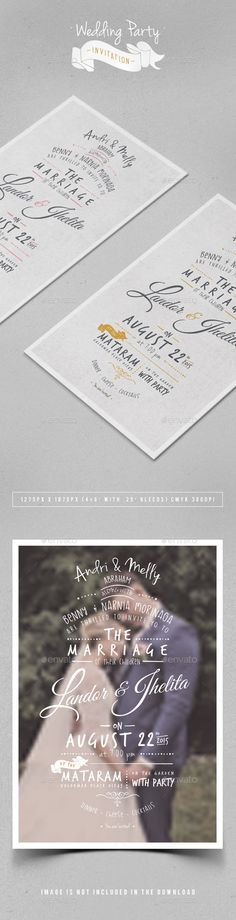 Wedding Party Invitation — Photoshop PSD #greeting #ornaments • Available here → https://graphicriver.net/item/wedding-party-invitation/11202730?ref=pxcr