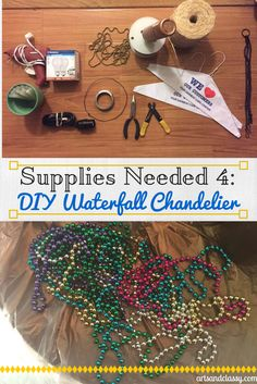 Supplies Needed for DIY Waterfall Chandelier