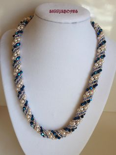 pearl and sapphire necklace by siggysbeads on Etsy, $180.00