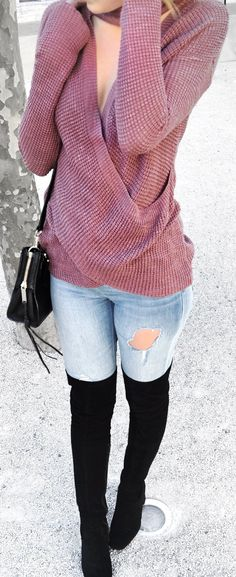 #spring #fashion /  Purple Bandage Knit / Destroyed Skinny Jeans / Black OTK Boots