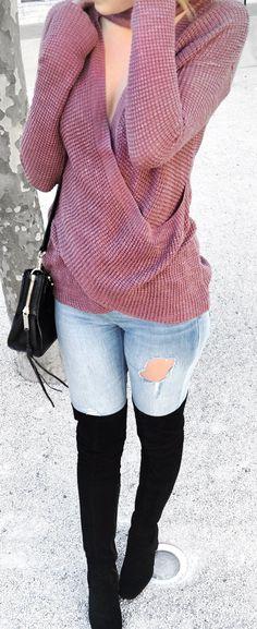 #spring #fashion /  Purple Bandage Knit / Destroyed Skinny Jeans / Black OTK Boots