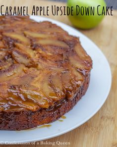 Caramel Apple Upside Down Cake www.confessionsofabakingqueen.com