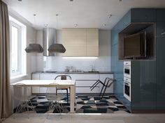 Дизайн квартиры-студии: 80 трендов для создания современного и мультифункционального интерьера http://happymodern.ru/dizajn-proekt-kvartiry-studii/ Эффектное решение с размещением телевизора для малометражной студии с современным оформлением в синих тонах. ТВ-юнитом здесь выступает кухонный шкаф