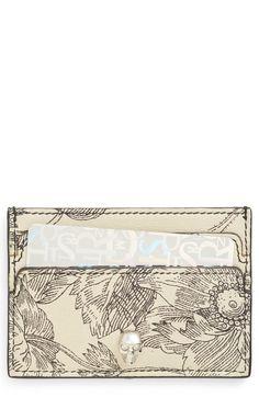 Main Image - Alexander McQueen Floral Sketch Leather Card Holder