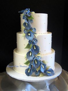 Elegant Ivory Wedding Cake with Blue Calla Lilies by Graceful Cake Creations, via Flickr