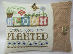 Bloom Where You Are Planted Cross Stitched Mini Pillow / Burlap Shelf Sitter / Spring- Summer Decor by luvinstitchin4u on Etsy