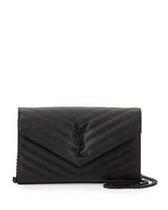 Monogram Grainy Leather Wallet-on-Chain, Black by Saint Laurent at Neiman Marcus.